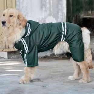 Esőkabát nagytermetű kutyának fényvisszverő - sötétzöld, 3XL