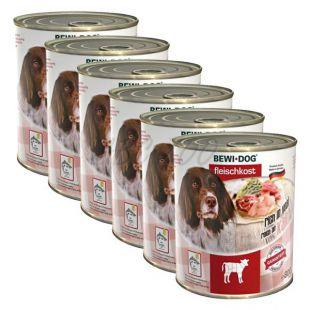 New BEWI DOG konzerv – Borjúhúsos - 6 x 800g, 5+1 GRATIS