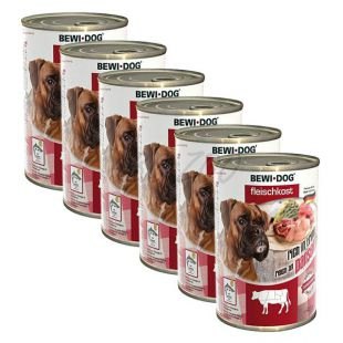 New BEWI DOG konzerv – Marhaaprólék - 6 x 400g, 5+1 GRATIS