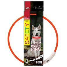 Led nylon nyakörv Dog Fantasy - narancssárga, 65cm