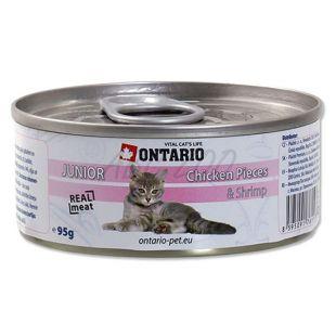 ONTARIO Junior Konzerv - csirkehúsdarabok és garnéla - 95 g