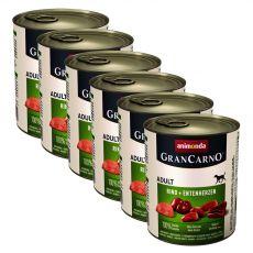 GranCarno Original Adult konzerv  marhahús+ kacsaszív- 6 x 800 g