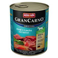 GranCarno Original Adult konzerv marha és lazac + spenót - 800g