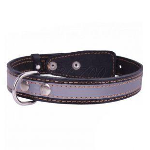 Bőr fényvisszaverő nyakörv - 32 - 40cm, 20mm - fekete