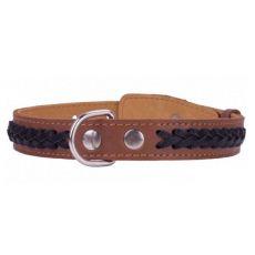 Fekete bőr nyakörv barna  keresztmintával - 38 - 50cm, 25mm