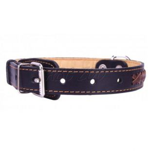 Fekete bőr nyakörv barna  keresztmintával - 47 - 62cm, 35mm