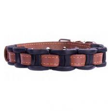 Berakással díszített bőr nyakörv - 34 - 40cm, 20mm- barna- fekete