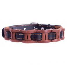 Berakással díszített bőr nyakörv - 29 - 35cm, 14mm - barna-fekete