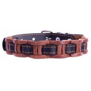 Berakással díszített bőr nyakörv - 40 - 50cm, 25mm - fekete- barna
