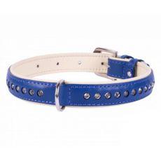 Brilliance bőr nyakörv  - 30 - 39cm, 20mm - kék
