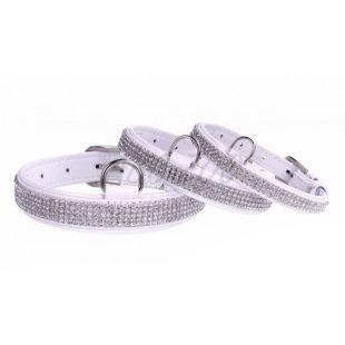 Csillogó bőr nyakörv kristályokkal- 27 - 36cm, 15mm - fehér