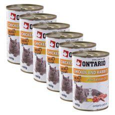 ONTARIO Konzerv macskáknak - csirke, nyúl és olaj - 6 x 400g