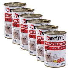 ONTARIO Konzerv macskáknak - csirke, pulyka és olaj - 6 x 400g