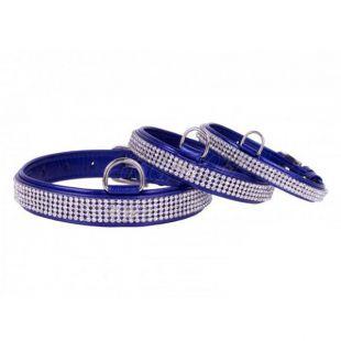 Csillogó bőr nyakörv kristályokkal- 30 - 39cm, 20mm - kék