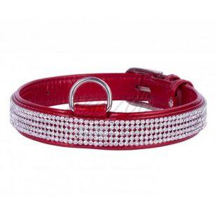 Csillogó, bőr nyakörv kristályokkal- 30 - 39cm, 20mm - piros