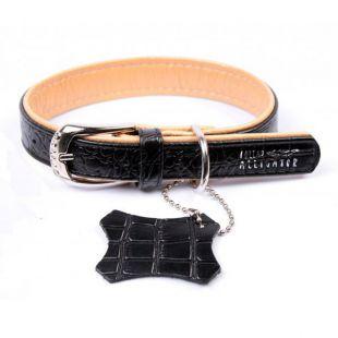 Bőr nyakörv Alligator  - 27 - 36cm, 15mm -fekete- bézs