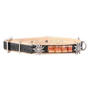 Díszített bőr nyakörv- 30 - 39cm, 20mm - fekete-bézs