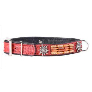 Díszített bőr nyakörv- 46 - 60cm, 35mm - piros