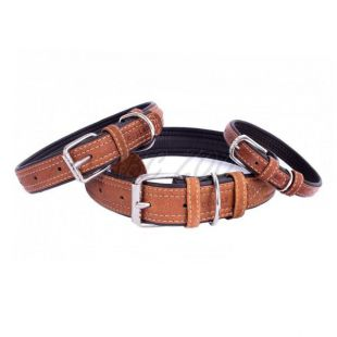 Bőr nyakörv  Soft 30- 39cm, 20mm, barna- fekete