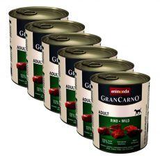 GranCarno Original Adult konzerv marhahús és vadhús - 6 x 800g