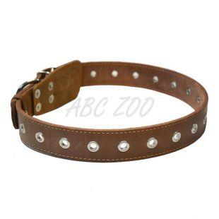 Bőr nyakörv kutyáknak  - 76cm, 35mm - barna