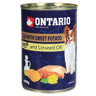 ONTARIO konzerv borjúhússal, édes burgonyával és lenmagolajjal – 400g