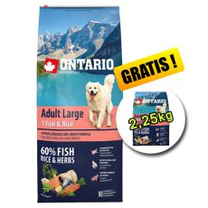 ONTARIO Adult Large 7 Fish & Rice 12kg + 2,25kg GRATIS