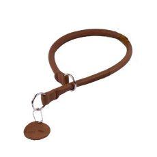 Kör alakú fojtogató bőr nyakörv - 50cm, 10mm - barna