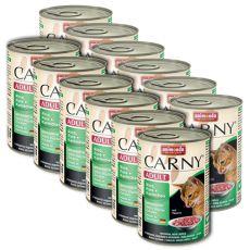CARNY ADULT eledel marhahússal, pulykával és nyúlhússal- 12 x 400g