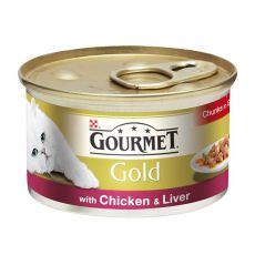 Gourmet GOLD konzerv - csirkehús és máj darabok pácban, 85g