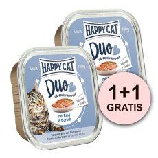 Happy Cat DUO MENU - marha és tőkehal, 100g + 100g AJÁNDÉK
