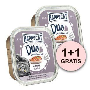 Happy Cat DUO MENU - marha és vadas, 100g + 100g AJÁNDÉK