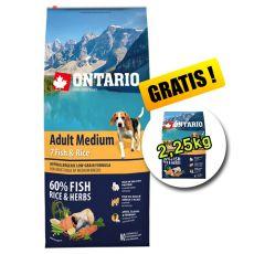 ONTARIO Adult Medium 7 Fish & Rice 12kg + 2,25kg INGYEN