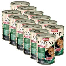 CARNY ADULT konzerv marhahússal, őzhússal és tőzegávonyával - 12 x 400 g