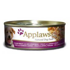 APPLAWS dog konzerv csirke, sonka és zöldség 156g