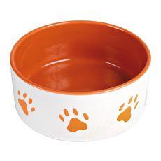 Kerámiatál kutyáknak - narancssárga tappancsok, térfogat 0,8 l
