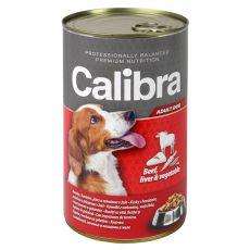 Konzerv Calibra Dog Adult marha, máj és zöldség aszpikban, 1240g