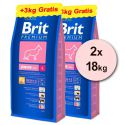 Brit Premium Junior Large 2 x 15kg + 6kg INGYEN