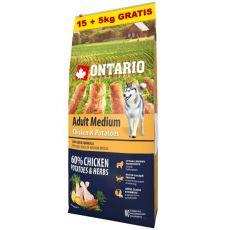 ONTARIO Adult Medium - chicken & potatoes 15+5kg ajándék