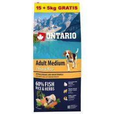 ONTARIO Adult Medium 7 Fish & Rice 15+5kg GRÁTISZ