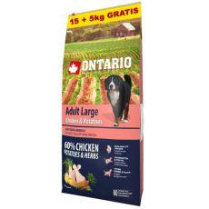 ONTARIO Adult Large - chicken & potatoes 15+5kg ajándék