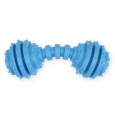 TPR Játék kutyáknak - csörgős kék súlyzó, 12cm