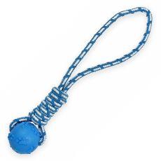TPR Sípoló labda zsinóron kutyáknak, kék - 40cm