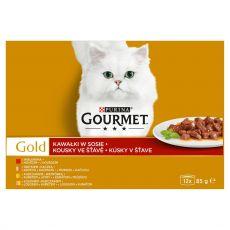 Gourmet GOLD konzervek - húsdarabok szószban, 12 x 85 g