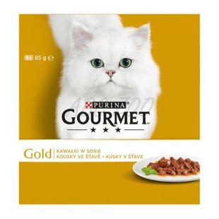 GOURMET GOLD konzerv - húsdarabok szószban, 8 x 85 g