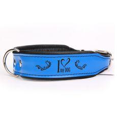 I love my dog bőr nyakörv, kék - fekete 4 cm x 45 - 52 cm