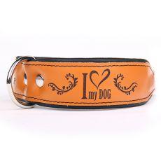 I love my dog bőr nyakörv, barna - fekete 4 cm x 38 - 46 cm