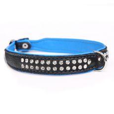 Zircon Neo bőr nyakörv, fekete - kék  2 cm x 38 - 44 cm