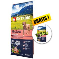 ONTARIO Adult Large - lamb & rice 12 kg + 2,25 kg GRATIS