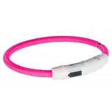 Világító LED nyakörv M-L, rózsaszín 45 cm